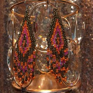 Bronze, Orange and Pink Beaded Boho Earrings